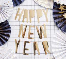"""Virtene  """"Happy New Year"""", zelta  (10x90 cm) 1"""