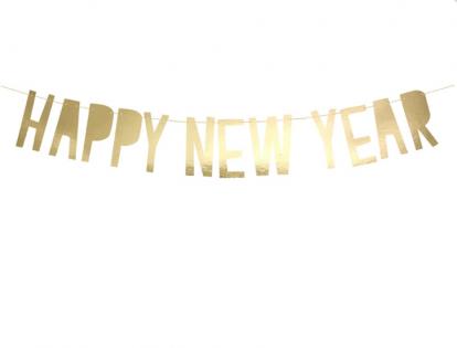 """Virtene  """"Happy New Year"""", zelta  (10x90 cm)"""