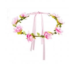 Ziedu vainags, rozā