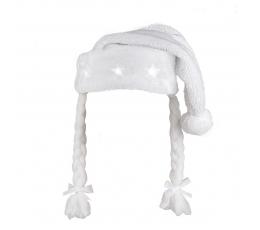 Ziemassvētku cepure ar bizēm un lampiņām, balta