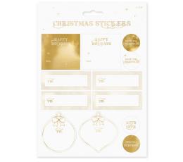 Ziemassvētku uzlīmes, zelta  (12 gab)