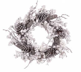 Ziemassvētku vainags ar priežu čiekuriem un baltām ogām (55 cm) 0