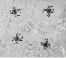Zirnekļa tīkls ar zirnekļiem, balts (56 g.)