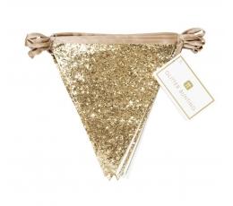 Блестящая тканевая гирлянда флажками, золотого цвета (3 м)