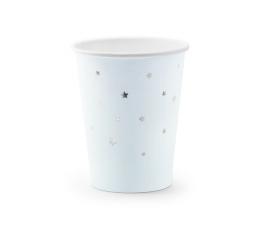 Бумажные стаканчики, голубые с серебряными звездами (6 шт/ 260 мл)