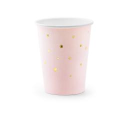 Бумажные стаканчики, розовые с золотыми звездами (6 шт/ 260 мл)