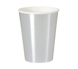 Бумажные стаканчики, серебряные блестящие (8 шт/ 355 мл)