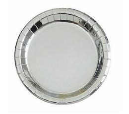 Бумажные тарелочки, серебряного цвета (8 шт/22 см)