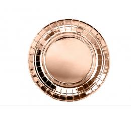Бумажные тарелочки, цвета розового золота (6 шт/ 18 см)