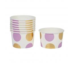 Чашечки для закусок, лиловые -золотые, в горошек (8 шт)