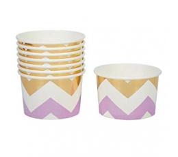 Чашечки для закусок, лиловые -золотые, зигзаг (8 шт)