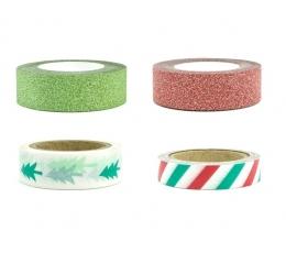 Декоративные клейкие ленты, красные/ зеленые (4 шт / 10 м)