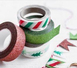 Декоративные клейкие ленты, красные/ зеленые (4 шт / 10 м) 1