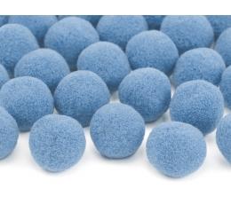 Декоративные плюшевые шарики, светло синие  (2 см/ 20 шт)