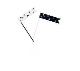 Декоративные шпажки - флажки, черные -серые (6 шт)