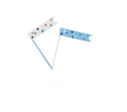 Декоративные шпажки - флажки, синие-серые (6 шт)
