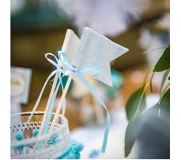 Декоративные шпажки-флажки, тканевые голубые (6 шт /20  см )