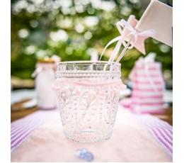 Декоративные шпажки-флажки, тканевые розовые (6 шт /20  см )