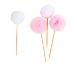 """Декоративные шпажки """"Пушистые шарики"""", розовые-белые (8 шт)"""