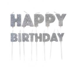 """Декоративные свечи- шпажки """"Happy Birthday"""", серебряные"""