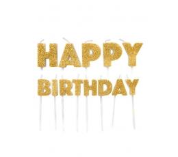 """Декоративные свечи- шпажки """"Happy Birthday"""", золотые"""
