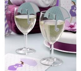 """Декорации для бокалов, именные карточки """"Baby Shower зонтики"""" (10 шт)"""