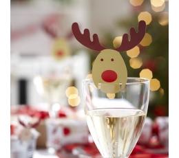 """Декорации для бокалов, именные карточки """"Рождественские олени"""" (10 шт)"""