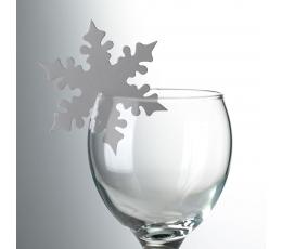 """Декорации для бокалов, именные карточки """"Серебристые снежинки"""" (10 шт)"""