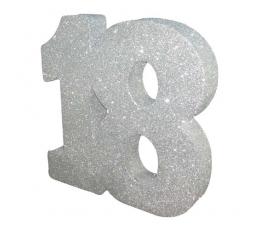 """Декорация """"18"""", серебряная (20 см)"""