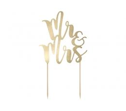 """Декорация для торта """"Mr & Mrs"""", золотая"""