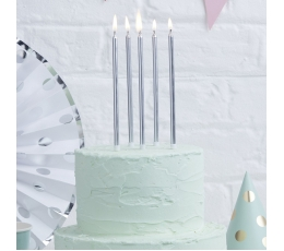 Длинные свечи, для торта-серебряного цвета (24 шт