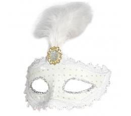 Домино маска белая с перьями