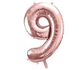 """Фольгированный шарик цифра """"9"""", цвета розового золота (85 см)"""