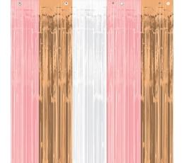 Фольгированные занавески, розовые, цвета розового золота - белые  (243x91 cm)