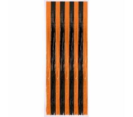 Фольгированный полосатые шторы, черно -оранжевые  (243 x 91 cm)