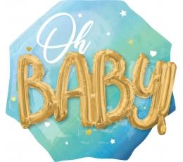 """Фольгированный шарик 3D """"Oh Baby"""", голубой (70 см)"""