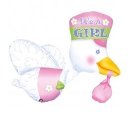 """Фольгированный шарик - аист """"It's a girl Stork"""" (58x81 см)"""