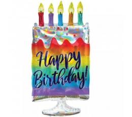 """Фольгированный шарик """"Birthday cake"""" (38х76 см)"""