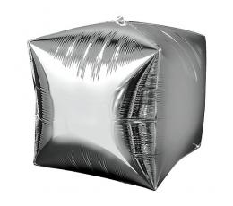 Фольгированный шарик куб, серебряный (38 см)