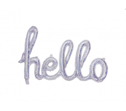"""Фольгированный шарик, надпись """"Hello"""", голографический"""