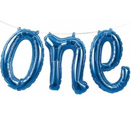 """Фольгированный шарик-надпись """"ONE"""", синий"""