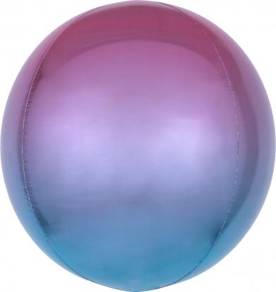 Фольгированный шарик орбз, фиолетово-синий омбре (38 см)