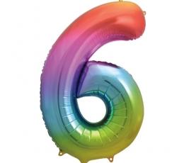 """Фольгированный шарик цифра """"6"""" разноцветный (86 см)"""