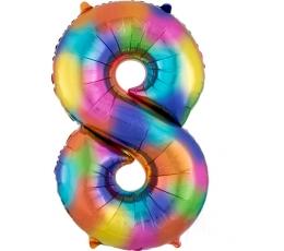 """Фольгированный шарик цифра """"8"""" разноцветный (86 см)"""