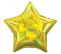 """Фольгированный шарик """"Золотая звезда"""", голографическая"""