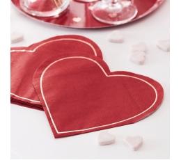 """Форменные салфетки """"Красное сердце"""" (16 шт)"""