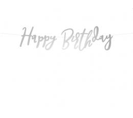 "Форминая гирлянда ""Happy Birthday"", серебряная (62 см)"