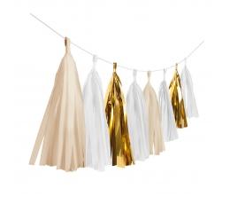 Гирлянда бумажными кисточками, белая -золотая (3 м)