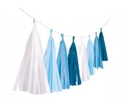 Гирлянда бумажными кисточками, синяя (3 м)
