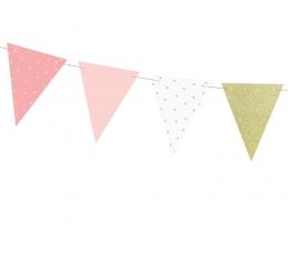 Гирлянда флажками, розовая -золотая (1,3 м)